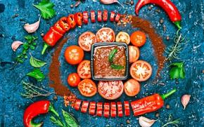 Picture leaves, creative, pepper, vegetables, tomatoes, ketchup, garlic, seasoning