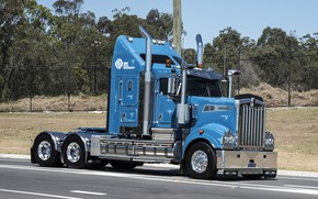 Picture Blue, Road, Kenworth, T909