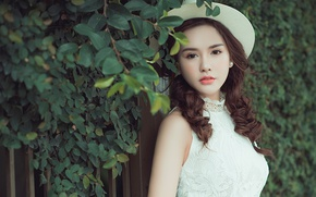 Picture look, leaves, style, sweetheart, hat, Asian, curls