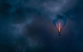 Wallpaper night, stars, balloon, the sky, balloon, clouds
