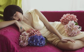 Picture girl, flowers, sofa, dress, lipstick, brunette