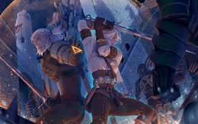 Picture art, the Witcher, art, illustration, witcher, Geralt, geralt, swords, the wild hunt, wild hunt, the ...