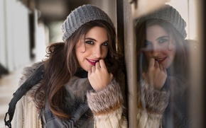 Picture smile, reflection, hair, Lara