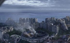 Picture sea, the city, smoke, destruction, Malaga Survival League