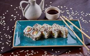 Picture figure, sauce, sesame, rolls
