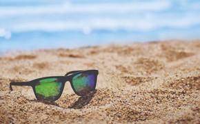 Picture beach, sand, glasses