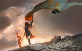 Picture sword, fantasy, armor, Warrior, painting, flag, artwork, fantasy art, horn