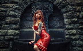 Wallpaper girl, pose, style, model, tattoo, latex, fountain, red, red dress, redhead, Julia Wendt