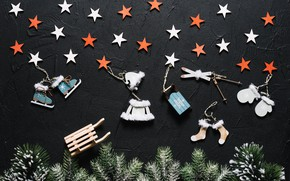 Picture christmas, stars, retro, with, winter, background, xmas, decorative, fir-tree branches