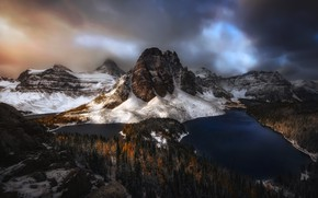 Picture winter, autumn, forest, clouds, snow, mountains, lake, Canada, lake, mountain range, Canadian Rockies, Mount Assiniboine