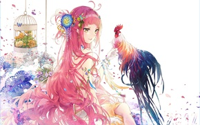 Picture girl, anime, art, cock, symbol of the year 2017