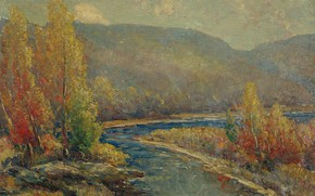 Picture trees, landscape, mountains, river, picture, Autumn in Delaware, Cullen Yates