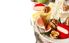 Picture food, cheese, plate, nuts, figs, Natalia Klenova