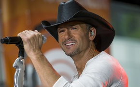 Picture scene, hat, microphone, cowboy, song, country, country, Tim McGraw