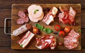 Wallpaper bacon, sausage, bacon, fat, tomatoes, sausage, Board, tomatoes, meat, olives
