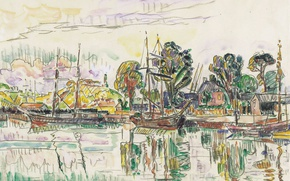 Wallpaper shore, Paimpol, watercolor, Paul Signac, figure, ship