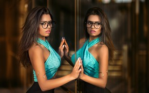 Picture sexy, reflection, skirt, makeup, mirror, glasses, hairstyle, blouse, brown hair, beauty