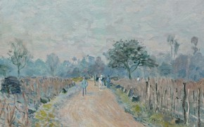 Picture landscape, picture, Alfred Sisley, Alfred Sisley, The Road of Prunay at Bougival