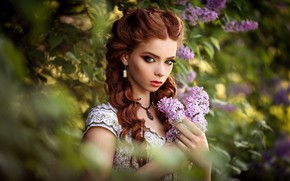 Picture look, girl, face, mood, makeup, red, redhead, curls, lilac, bokeh, Andrew Stankūnas