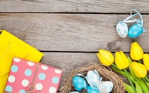 Wallpaper Easter, tulips, yellow, wood, tulips, spring, Easter, eggs, decoration, Happy, tender