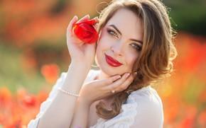 Picture flower, girl, face, smile, mood, Mac, hands, lipstick, bokeh