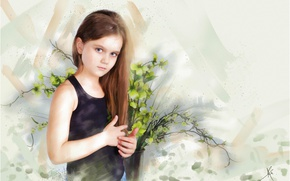 Picture look, flowers, face, style, background, figure, graphics, portrait, treatment, picture, Mike, art, girl, pot, pastel, …