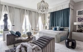 Picture design, room, furniture, bed, chandelier, bedroom