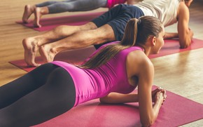 Picture female, group, workout, fitness, yoga