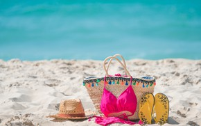 Picture sand, sea, beach, swimsuit, summer, stay, vacation, hat, summer, bag, beach, sea, sand, slates, vacation