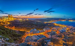 Picture sea, landscape, lights, home, panorama, Malta, Mellieha