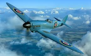 Picture fighter, war, British, Supermarine Spitfire, times, The second world