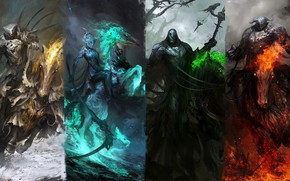 Picture green, dark, fire, red, sword, white, fantasy, black, horses, knights, artwork, warriors, fantasy art, dark …