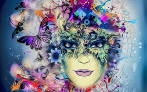 Picture girl, mask, female