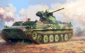 Picture 30 mm, 2A72, Soviet amphibious armored personnel carrier, multipurpose Transporter (tractor), MT-LBM 6MB, light armored