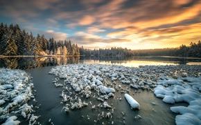 Picture snow, lake, morning, Switzerland