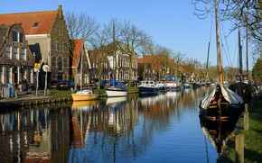 Picture the sky, the sun, trees, home, boats, channel, Netherlands, boats, Edam