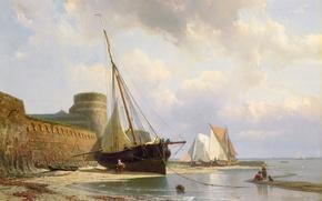 Picture sea, landscape, shore, boat, picture, sail, Johan Conrad Greive, Bombasticity Barracks Vlissingen