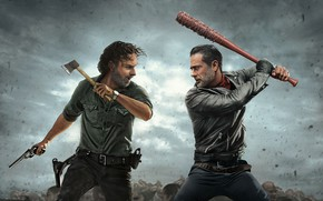Wallpaper rick grimes, Jeffrey Dean Morgan, walking dead, andrew lincoln, negan