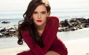 Picture sand, sea, beach, the sun, pose, makeup, dress, actress, brunette, hairstyle, beauty, in red, nature, …