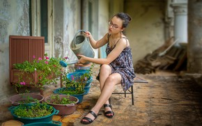 Picture lake, legs, watering, Bessarion Chakhvadze, flower girl