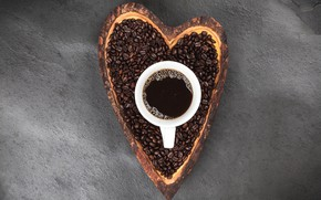 Picture coffee, grain, Cup, love, hot, heart, cup, beans, coffee