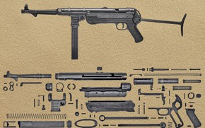 Wallpaper 9 mm, MP-40, background, the gun, German, details, spare parts