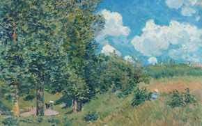 Picture landscape, picture, Alfred Sisley, Alfred Sisley, The road from Versailles to Saint-Germain