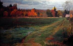 Picture autumn, village, path, HongNian Zhang, Farm Road