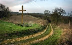 Wallpaper road, the sky, cross