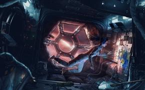 Wallpaper artist, weightlessness, girl, Amaru Zeas, the window, astronaut, picture, earth, artist, spaceship