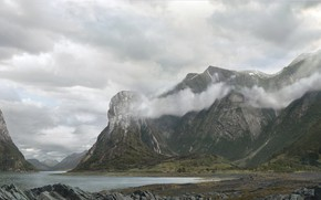 Picture clouds, mountains, nature, pond, Norwegian fjords and landscape
