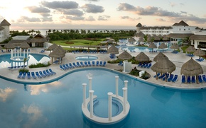 Picture beach, pool, the hotel, sunbeds, Mexico, Riviera Maya, Cancun