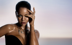 Wallpaper fashion, Rihanna, wet, look, pose, singer