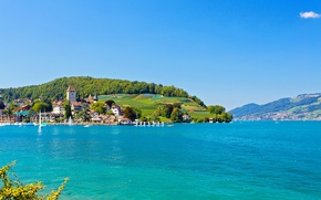 Picture the sky, the sun, trees, lake, shore, home, yachts, boats, Switzerland, plantation, Bern, Thunersee